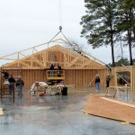 First trusses set on pavilion