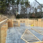 Pavilion scissor trusses installed